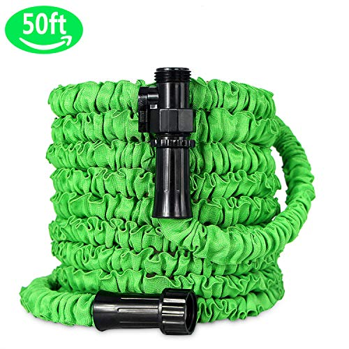 Grleaf Garden Hose, Expandable Water Hose with Double Latex Core, Heavy Duty Outer Fabric, Anti-Leaking Connector, Magic Hose for Car Washing, Gardening(50ft,Green)