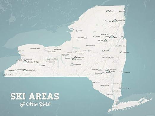 ski resorts new york map Amazon Com New York Ski Resorts Map 18x24 Poster Beige Opal