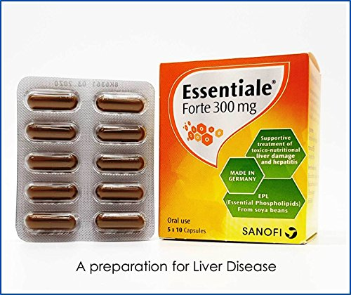 Essentiale Forte 300 MG (50 Hard Capsules in Blister) Each Capsule Contain EPL (Essential Phospholipids from Soya-Bean) 300 MG, A Preparation Supplement for Liver Care and Revitalize by Essentiale Forte 300 MG (Image #1)