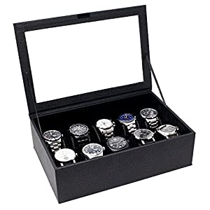 Caddy Bay Collection Watch Case Box Holds 10 Large Watches – Deep Slot – Glass Top – Black