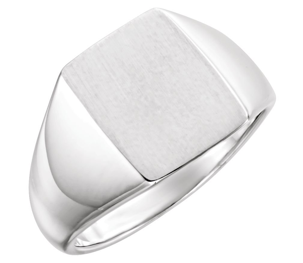 Men's Brushed Rectangle Signet Ring, Sterling Silver (15x12MM), Size 12.5
