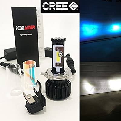 (2 COLORS IN 1 SET) H4 9003 HB2 30000K Blue 6000K White (High/Low Beam) CREE COB LED Xenon Kit 8000LM 80W USA Motorcycle