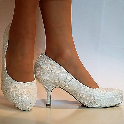 Rock on styles Ladies Wedding Bridal Low Kitten Heel Strappy Ivory Floral Lace Court Shoes Size FC4mmeYHg