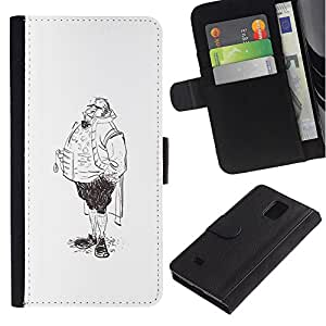 iBinBang / Flip Funda de Cuero Case Cover - Aristocrat Legs Man Sketch Pencil Drawing Art - Samsung Galaxy Note 4 SM-N910