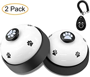 Dog Training Bell, Comsmart Set of 2 Dog Puppy Pet Potty Training Bells, Dog Cat Door Bell Tell Bell with Non-Skid Rubber Base + 1Pcs Dog Training Clicker with Wrist Strap