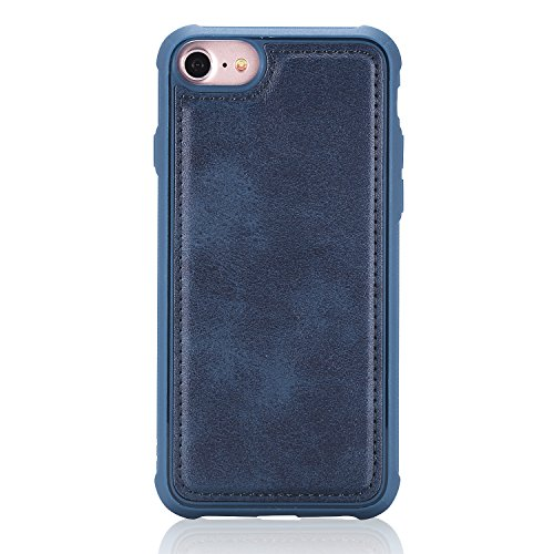 DAMONDY iPhone 8 Case iPhone 7 Case, Detachable 2 in 1 Cover Stand Wallet Purse Card Slot ID Holders Design Flip Cover Pocket Purse Leather Magnetic Protective for iPhone 7/iPhone 8-blue by DAMONDY (Image #4)
