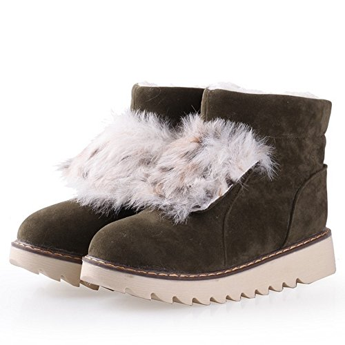 Women's TAOFFEN Warm Green Slip Boots On drrPqw