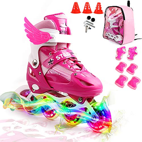 (ZALALOVA Kids Adjustable Inline Skates, Safe and Durable Roller Skates for Girls with Breathable Mesh Rollerblades- Featuring All Illuminating Wheels)