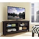 Walker Edison Furniture Wood Corner TV Console, 58-Inch, Expresso