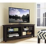 "WE Furniture 58"" Wood Corner TV Stand Console, Espresso"