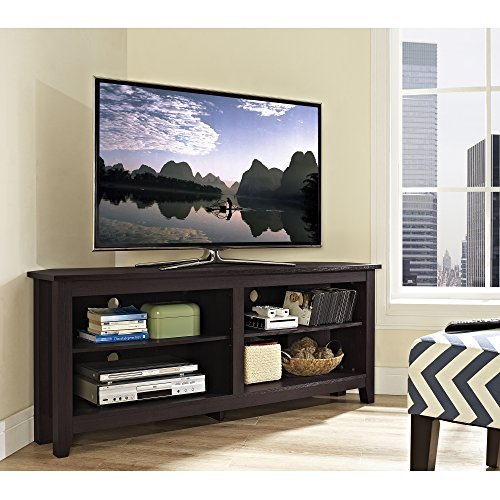WE Furniture 58' Wood Corner TV Stand Console, Espresso