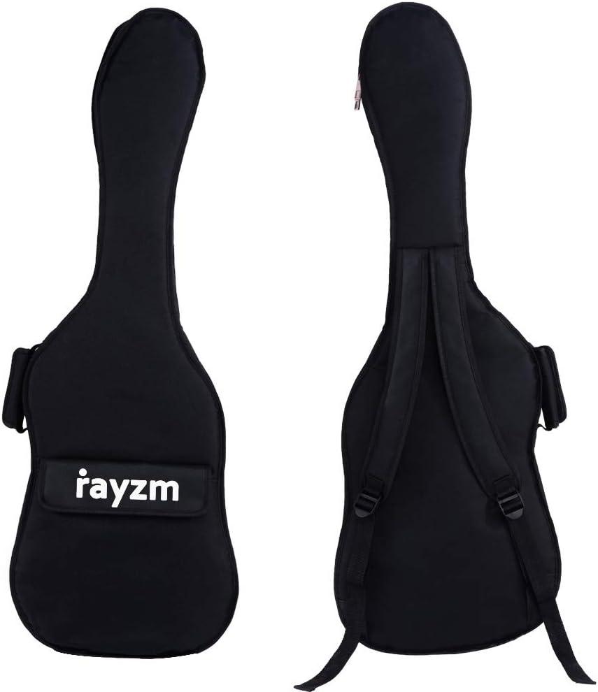 Rayzm funda para guitarra eléctrica, bolsa acolchada para guitarra eléctrica Strat y tele Style, dos correas acolchadas, asa de transporte,un amplio compartimento frontal