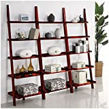 Cherry Five-tier 3-piece Leaning Ladder Shelf Set