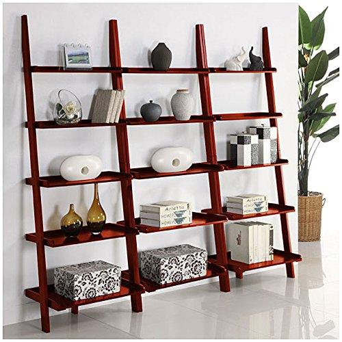 Cherry Five-tier 3-piece Leaning Ladder Shelf Set MINTRA