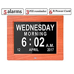 Véfaîî 2UI- Large Day Clock Digital Calendar for Memory Loss Elderly Seniors Dementia Alzheimers Vision Impaired Patients 5 Alarms+3 Medicine Reminders, Gift for Birthday Christmas (WoodGrain)