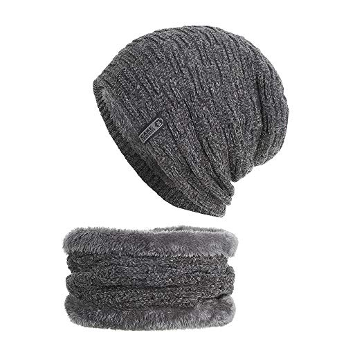 Beanie Hat Scarf Set Thick Knit Cap Hedging Head Hat+Scarf Warm Winter Hat for Unisex (Gray)