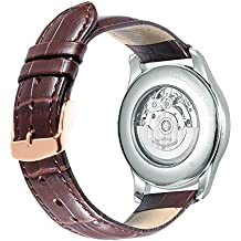 iStrap 24mm Calfskin Replacement Watch Band With Rose Gold Pin Buckle for Men Women - Brown