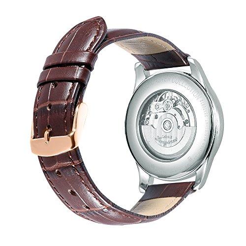 iStrap 24mm Calfskin Replacement Watch Band With Rose Gold Pin Buckle for Men Women - Brown Band Leather Belt Buckle
