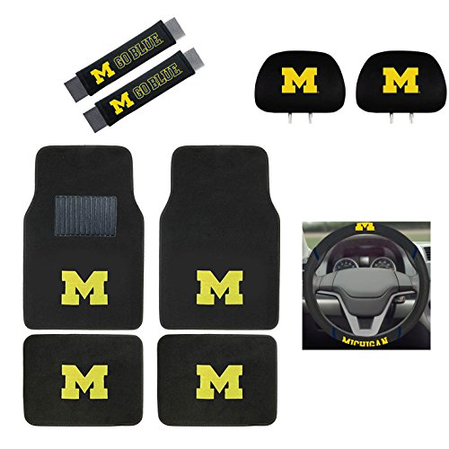 MULTI_B Michigan Wolverines Floor Mat, Headrest Wheel Cover and Shoulder Pads Gift Set