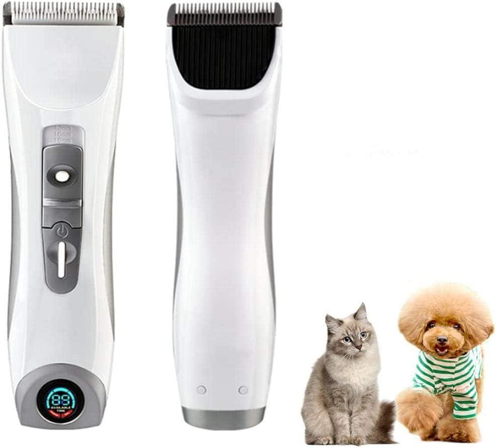 Máquina de Afeitar silenciosa para Gatos y Perros Recortador de Mascotas inalámbrico Juego de recortador de Pelo para Animales Recargable con 4 tamaños de Peine (Blanco)