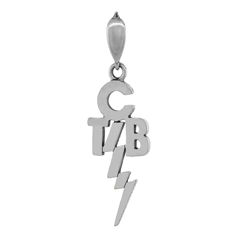 Sterling Silver Elvis's Motto take Care of Business TCB Charm Necklace, 1 1/4 inch tall