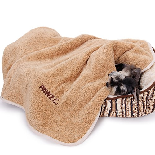- PAWZ Road Dog Blanket Luxury Wraps Fabric Soogan Exquisite Workmanship Ideal Blanket for Small and Medium Size Pets Light Brown