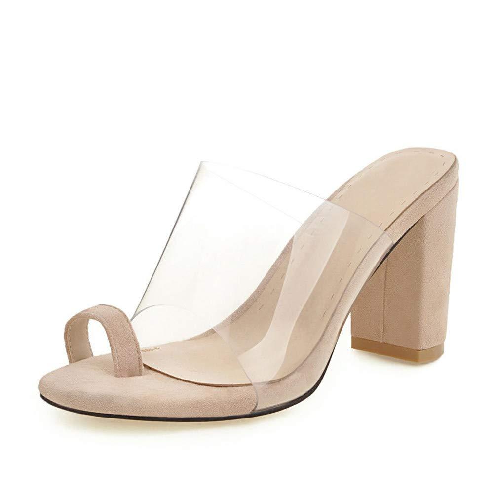 b0b79d42e69 Amazon.com | chegong Women's Transparent Toe Ring Chunky High Heel ...