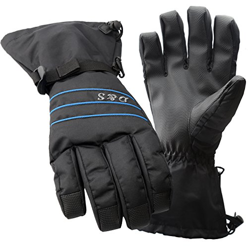 D&S Ski Gloves Men - Waterproof Warm Adult Cold Weather Winter Glove - Full Finger Gear - Perfect for Windproof,Snow,Snowboard,Snowmobile,Skiing,Snowboarding - Insert HIPOTEX Waterproof Bag (Black L) (Waterproof Mens Ski Glove)