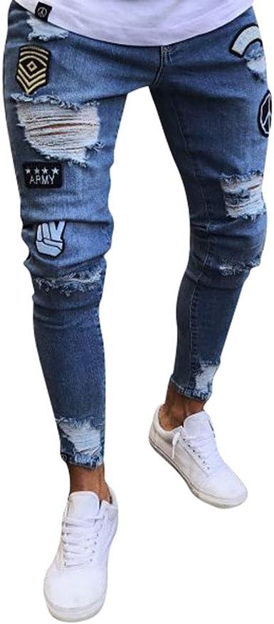 Wanyangg Pantalones Vaqueros Rotos Hombre Skinny Rajados Mezclilla Jeans Pantalones Vaqueros Elasticos Slim Fit Flaco Rodilla Ripped Jean Denim Pantalon Con Parche De La Insignia Amazon Es Ropa Y Accesorios