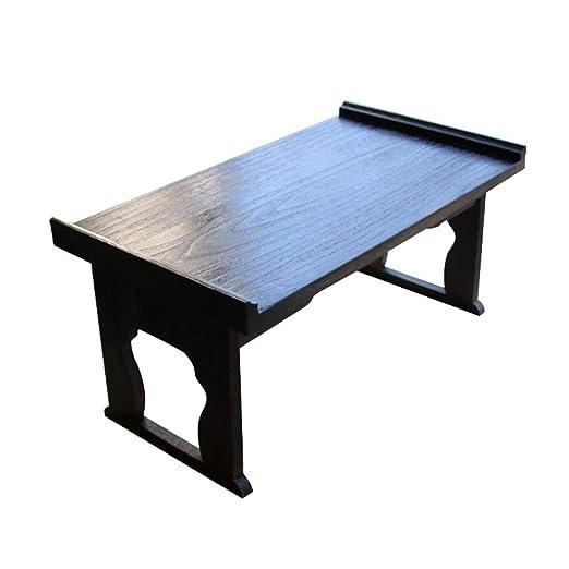 Mesa de centro de madera maciza Sala de estar negra Pequeña mesa ...