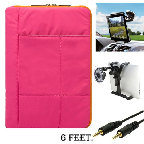 Pillow Edition Protective Lightweight Sleeve For Acer Iconia A Series A700 A710 A510 A500 A200 A210 + Auxiliary Cable + Windshield Car (A200 Series)