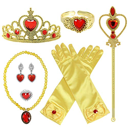 ACEHOOD Princess Dress Up Accessories for Princess Costume Gloves Tiara Wand Necklace Earrings Bracelet Ring Gift for Girl (Yellow) -