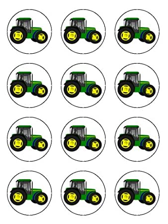 Twelve 2 Farm Tractor Edible Image Cupcake Toppers Decorated On