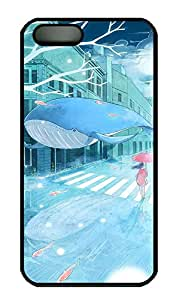 Anime Girls And Whale Hard Case Cover iPhone 5S 5 Polycarbonate Black