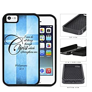 Philippians 4:13 Bible Verse with Cross and Blue Grunge (iPhone 5/5s) 2-piece Dual Layer High Impact Black Silicone Cover Case by lolosakes
