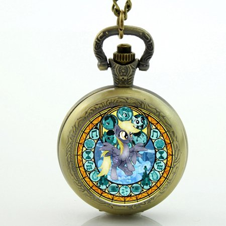 Costume Jewellery Watches (Antique Bronze Vintage Rainbow Dash Necklace My Little P Friendship Is Magic Jewelry New Pocket Watch Necklace)