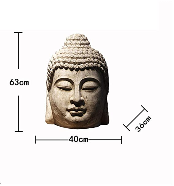 Amazon.com : AGGL Ornaments Decoration Creative Chinese Retro Style Buddha Head Crafts Vintage Zen Resin Home Decoration Suitable for Study/Garden ...