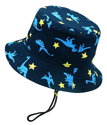 Sun Hat Boys Cute Dinosaur Printing Bucket Hat Spring Summer Vacation Holiday Beach Outdoor Breathable Cotton Fishing Hat (Holiday Bucket)