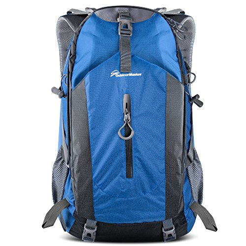 OutdoorMaster Hiking Backpack 50L - Hiking & Travel Carry-On Backpack w/Waterproof Rain Cover - for Hiking, Traveling & Camping - Blue