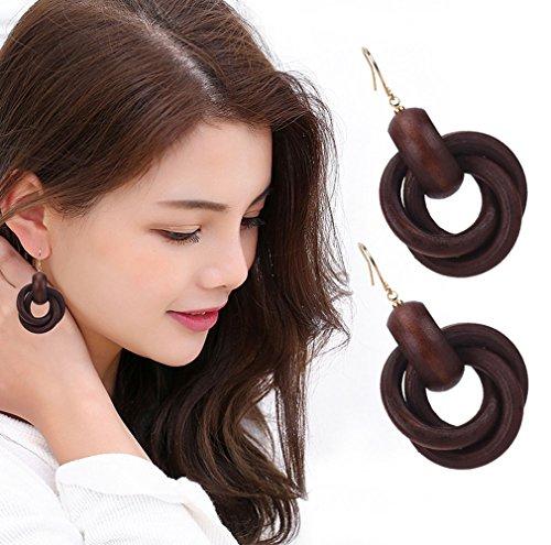 (Wooden Earrings for Women Big Statement Circle Beautiful Hoop Earrings (Brown Tone))