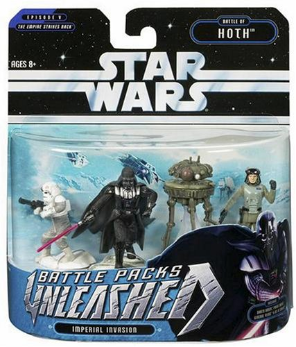 - Hasbro Star Wars Unleashed Battle 4 Pack Darth Vader, Probe Droid, General Veers, at-at Walkers