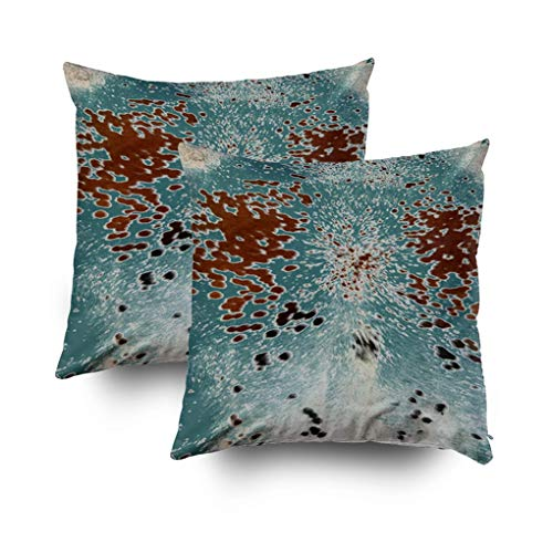 Musesh Pack of 2 Turquoise and Brown Cowhide Print Cushions Case Throw Pillow Cover for Sofa Home Decorative Pillowslip…