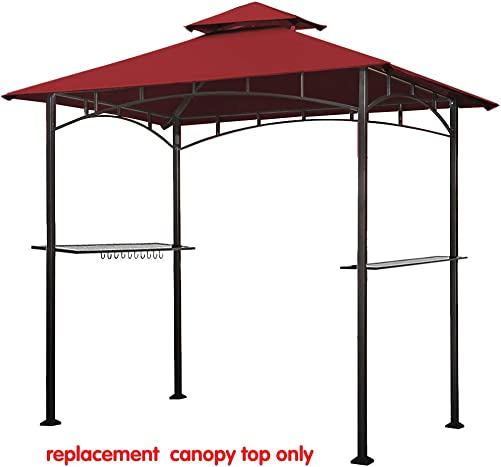 Eurmax 5FT x 8FT Double Tiered Replacement Canopy Grill BBQ Gazebo Roof Top Gazebo Replacement Canopy Roof Burgundy