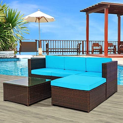 Rhomtree 3-Piece Wicker Patio Furniture Set Outdoor Rattan Sectional Conversation Set Sofas