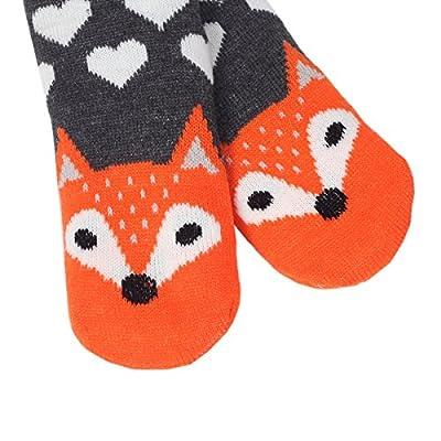Marlong Womens Warm Soft Cute Cartoon Animals fuzzy Cozy Non-Slip Winter Indoor Slipper Socks, 02 Fox, One Size at Women's Clothing store