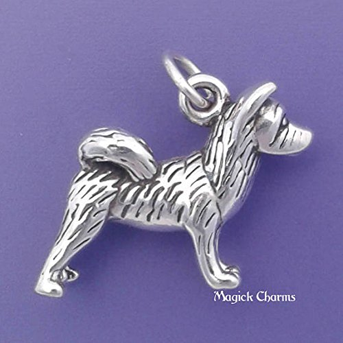 AKITA Dog Charm Sterling Silver 3-D Pendant - lp3515 Jewelry Making Supply Pendant Bracelet DIY Crafting by Wholesale Charms