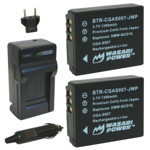 Wasabi Power Battery (2-Pack) and Charger for Panasonic Lumix CGA-S007, CGA-S007A, CGA-S007A/1B, CGA-S007E, DMW-BCD10, DMC-TZ1, DMC-TZ2, DMC-TZ3, DMC-TZ4, DMC-TZ5, DMC-TZ11, DMC-TZ15, DMC-TZ50
