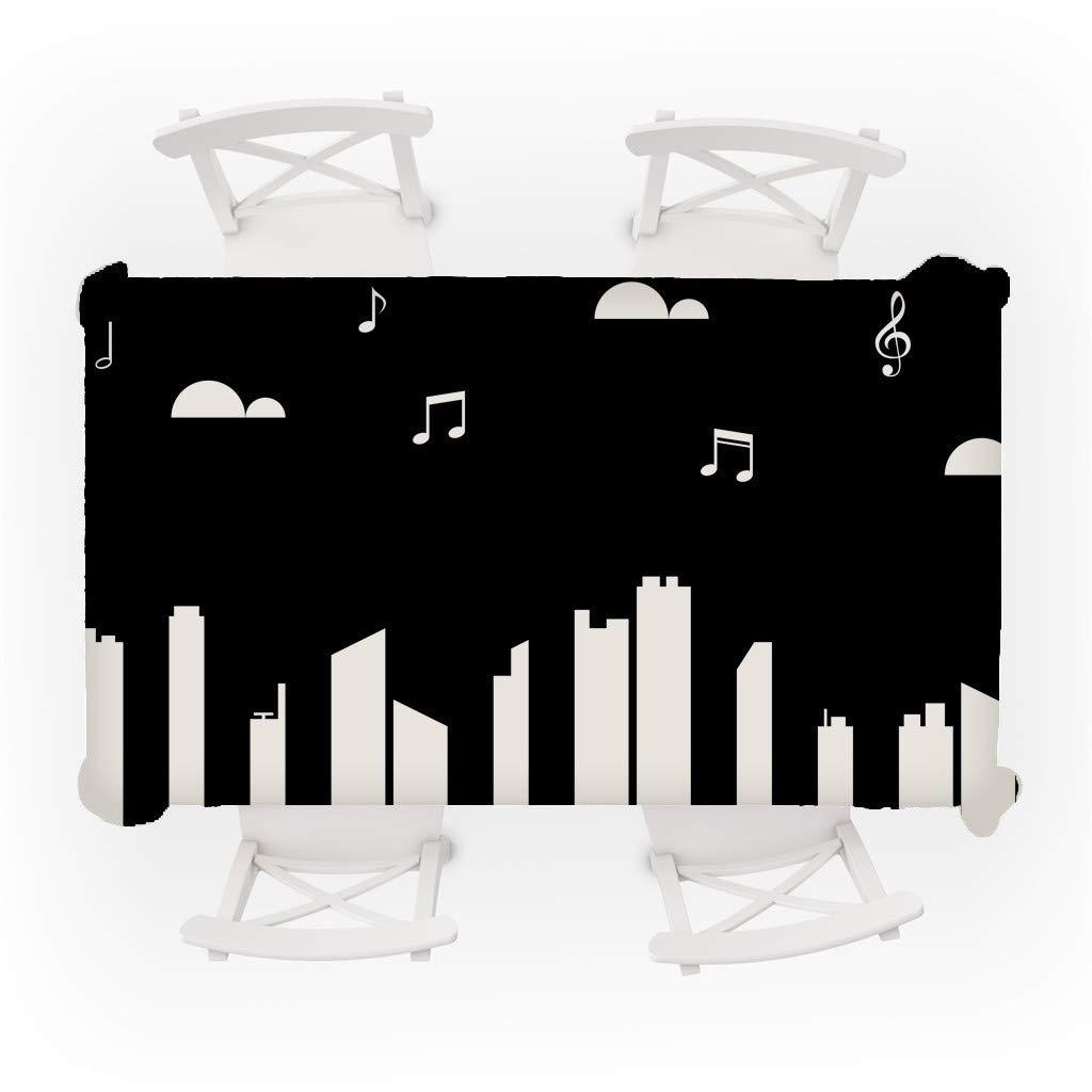 Tovaglia Rettangolare in Cotone e Lino a Motivo Musicale Lavabile Sixcup 140 x 80 cm