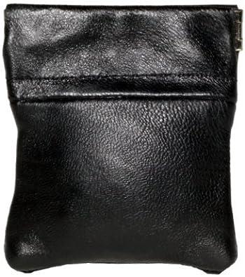 Monedero de piel con cierre a presión, para mujer/ hombre, en color negro.: Amazon.es: Zapatos y complementos