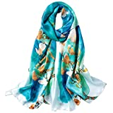 STORY OF SHANGHAI Womens 100% Mulberry Silk Head Scarf For Hair Ladies Satin Scarf Gift For Valentine's Day